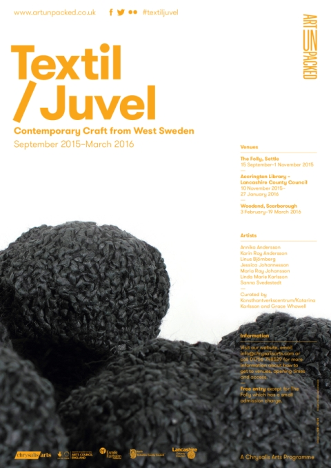 poster Textil / Juvel: Contemporary Craft From West Sweden: MNCL Folly Settle 2015; click for larger pdf (approx 542kb, opens in new browser window)